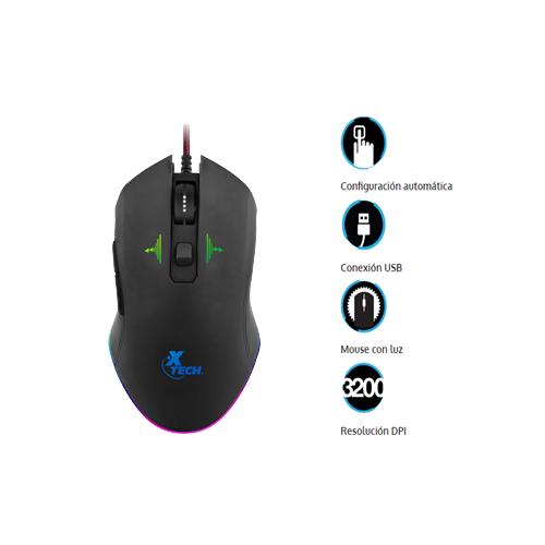 Xtech 180720289 XTM710 Mouse gamer iluminado 3200 dpi color negro USB 2.0