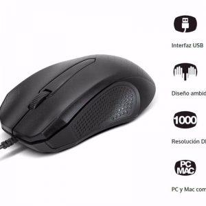 Xtech INC1708670054975 XTM165 Mouse con cable 1000 dpi USB 2.0 color negro