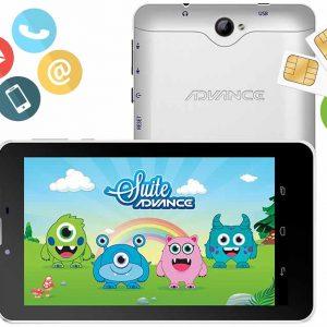 """ADVANCE Intro TR4985 7"""" """"Banda 3G/ 2G Conectividad Wi-Fi / Bluetooth, procesador MTK 8321 Quad-Core, memoria RAM 1 GB, memoria ROM 8 GB, ranura microSD (soporta hasta 32GB), conector 3.5mm, cámara posterior 2.0 MP, cámara frontal 1.3 MP, radio FM, reproduce audio y video. Incluye protector de personaje Mounsters. """""""